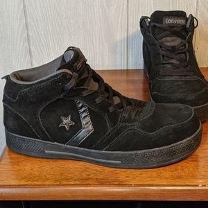 Euc converse black steel toe high tops sz 11 W